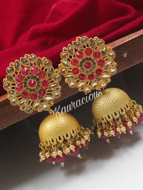 Floral Stud Style Matte Finish Jhumka Earrings | kauracious.com