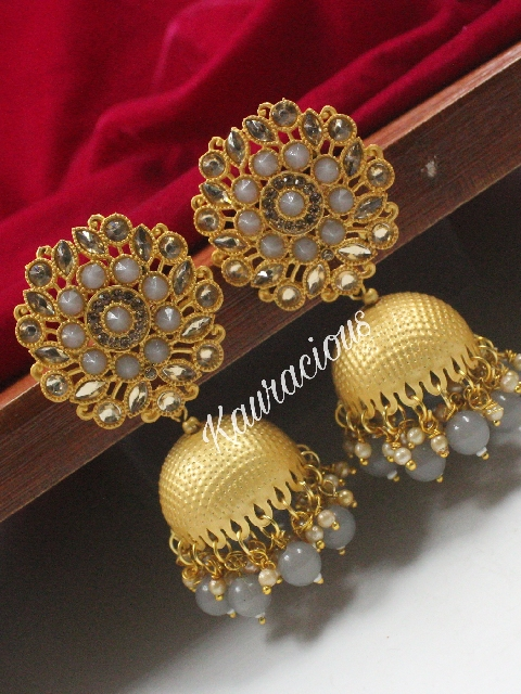 Floral Stud Style Matte Finish Jhumka Earrings | Kauracious.com