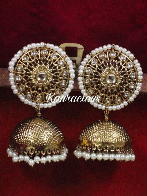 Circular Stud style Oversized jhumki earrings | kauracious.com
