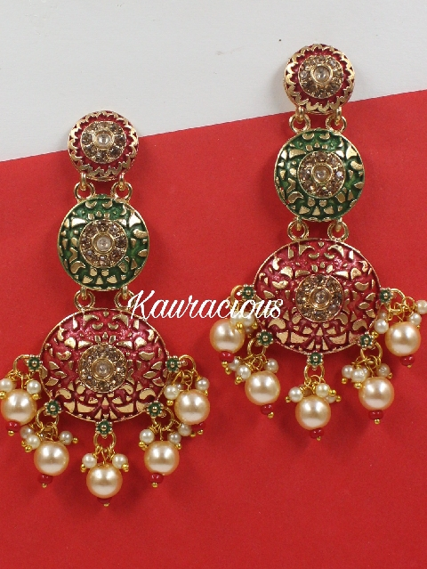 Meenakari Layered Traditional Danglers | kauracious.com