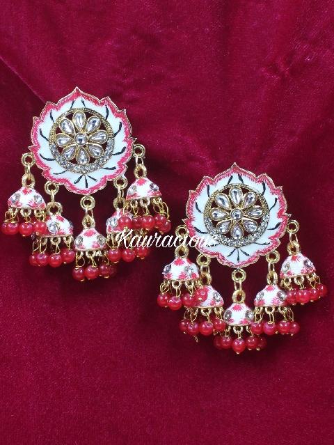Five Jhumki Meenakari Earrings   kauracious.com
