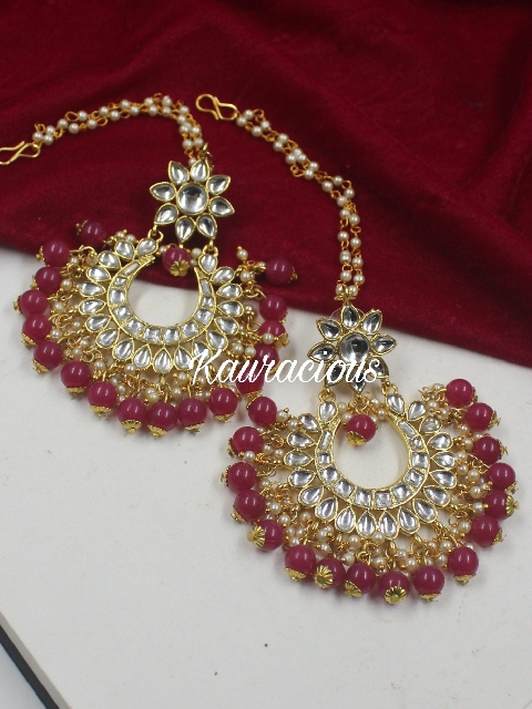 Kundan Earrings With Pearl Kaanchain | Kauracious.com