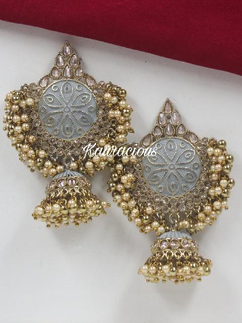 Polki Studded Meena work JHumka Earrings | kauracious.com