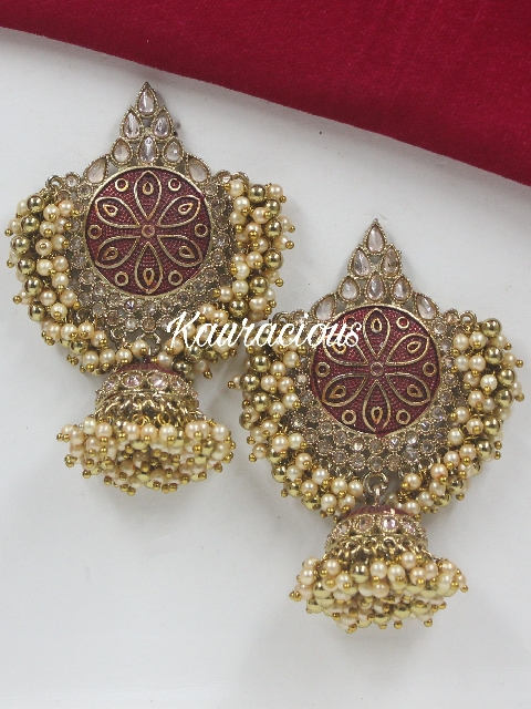 Polki Studded Meena Work Jhumka Earrings | Kauracious.com