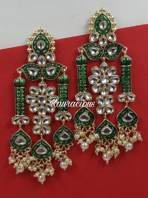 Long Meenakari Traditional Earrings | Kauracious.com