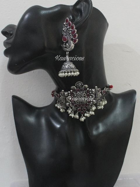 Silver look alike Brass Based Choker & Earrings Set | Kauracious.com