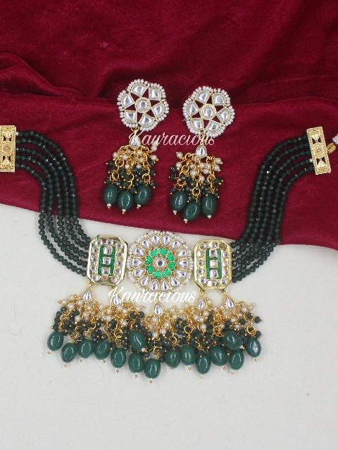 Green Beaded Kundan Choker Set with Earrings | kauracious.com