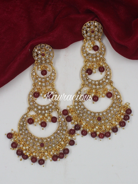 Long Polki Layered Traditional Earrings | Kauracious.com