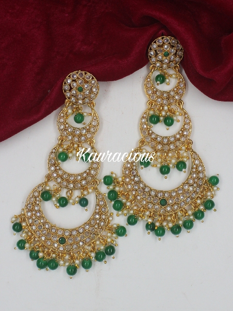 Long Polki Layered Traditional Earrings | Kauracious.com