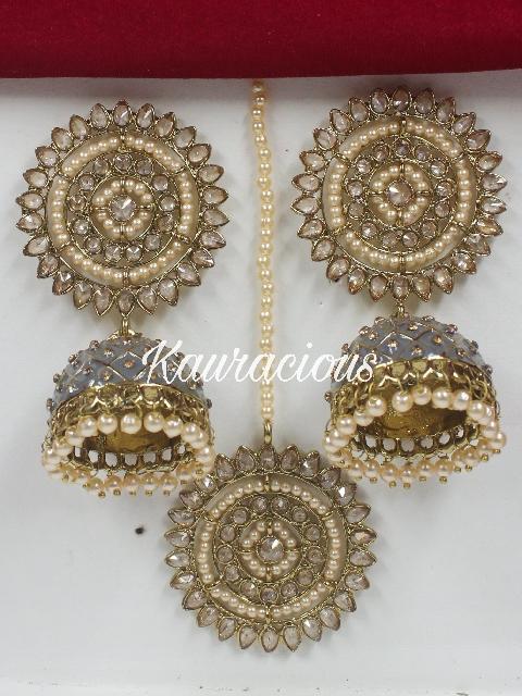 Polki Maang Tikka & Jhumka Earrings Set | kauracious.com