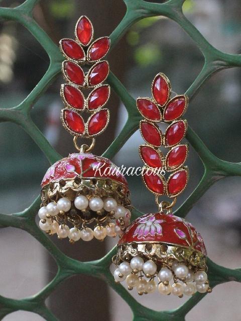Floral Layered Red Meenakari Jhumka Earrings   Kauracious.com