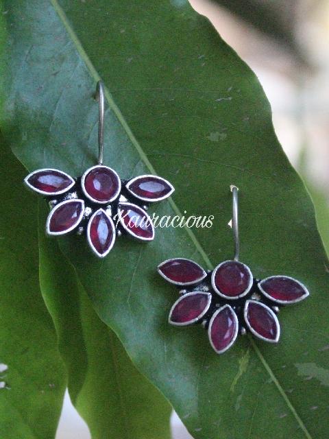 Brass Hand made floral earrings | kauracious.com