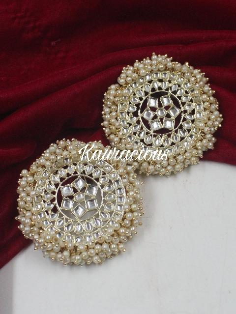 Oversized Pearl Beaded Traditional Studs | Kauracious.com