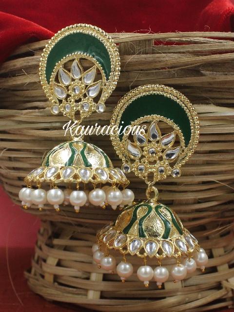 Oval Shaped Stud Style Meenakari Jhumki Earrings | Kauracious.com