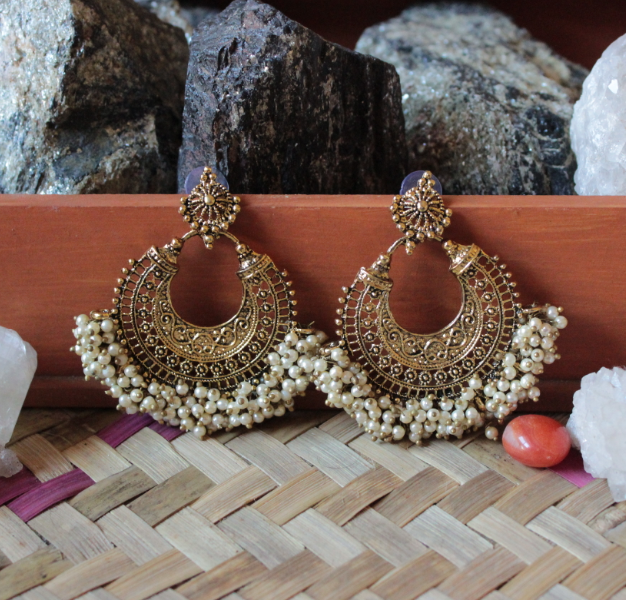Pearl Beaded Chandbali Earrings | kauracious.com