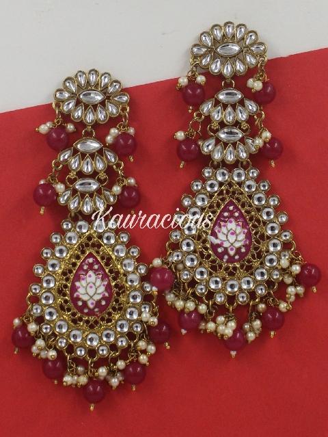 Long Meenakari Traditional Danglers Earrings | Kauracious.com
