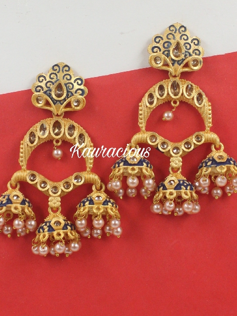 Matte Based Tripple Jhumki Meena Earrings | Kauracious.com