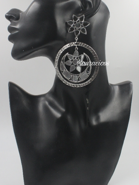 Mirror Chandbali Earrings   Kauracious.com