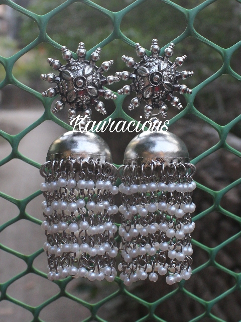 Pearl Layered Oxidized Danglers | Kauracious.com