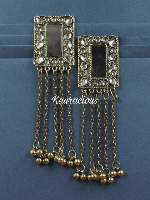 Long Chain Mirror Danglers | kauracious.com