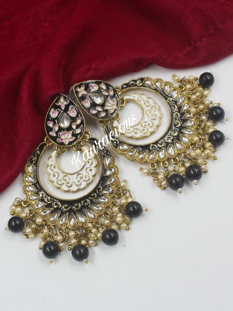 Medium Sized Meenakari Chandbali Earrings | kauracious.com