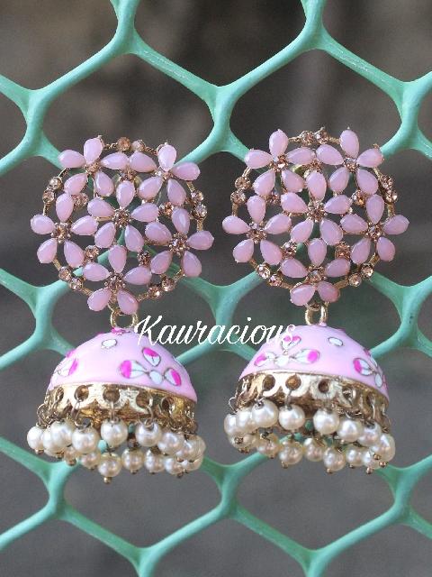 Floral Pattern Meenakari Jhumki Earrings | Kauracious.com