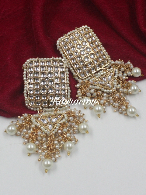 Rectangular Stud style beads beaded Kundan Earrings | Kauracious.com
