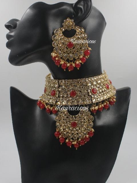 Faux Ad Studded Semi Bridal Choker Set With Tikka | kauracious.com