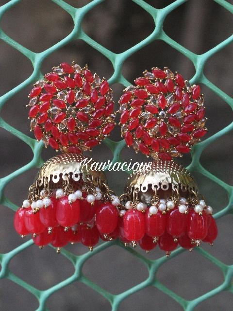 Faux stone Studded Oversized Jhumka Earrings | kauracious.com