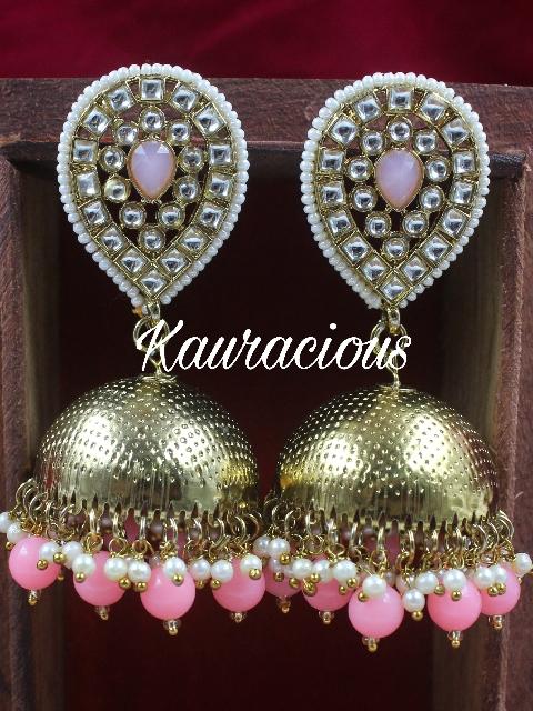 Oval Shaped Oversized Jhumki Earrings | kauracious.com