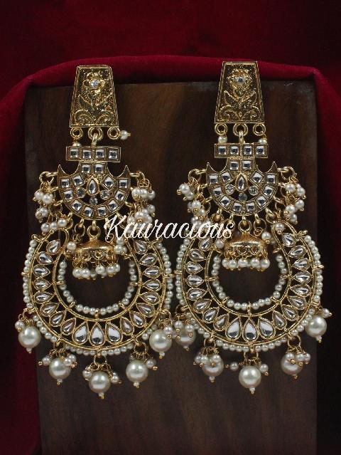 Kundan Danglers Earrings | kauracious.com