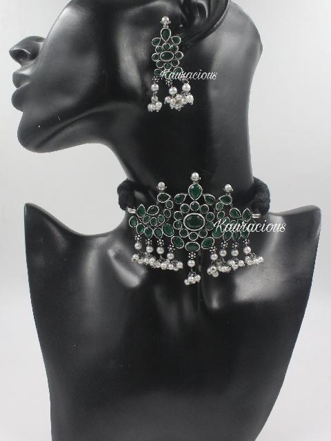 Silverlookalike Brass Based Choker & Earrings Set   Kauracious.com