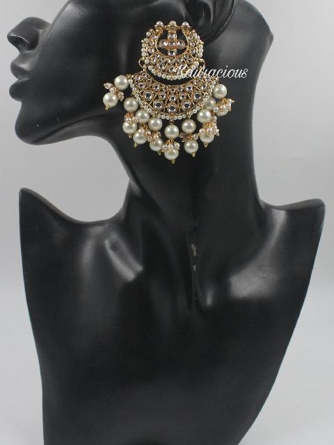 Kundan Chandbali Earrings   Kauracious.com
