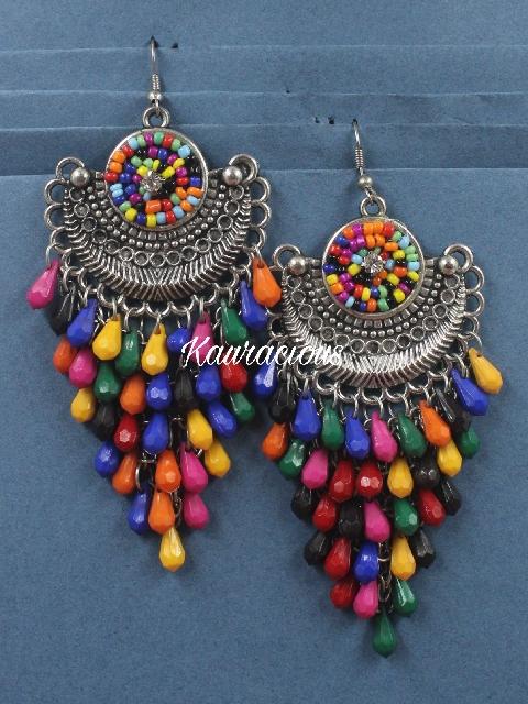 Multicolor beads studded Oxidized Danglers | kauracious.com