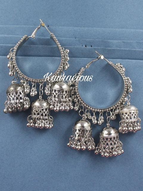 Tripple Jhumki Oxidised Hoops | kauracious.com