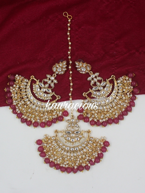 Oversized Kundan Jhalar Maang Tikka And Earrings Set | kauracious.com