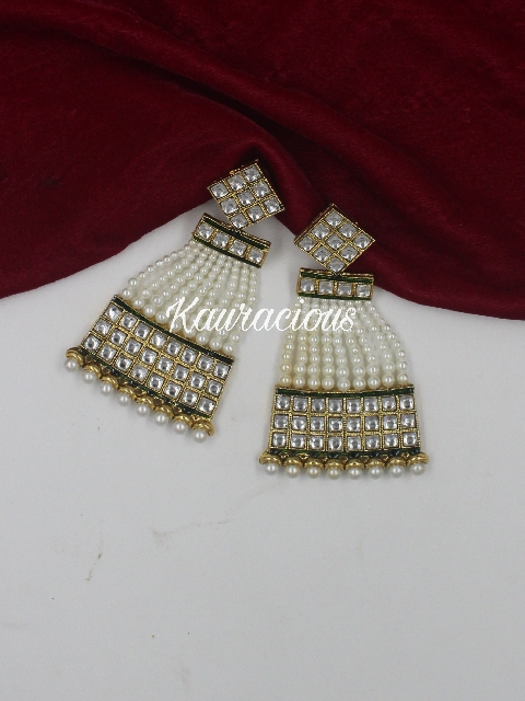 Kundan Pearl Chandbali Traditional Earrings | Kauracious.com