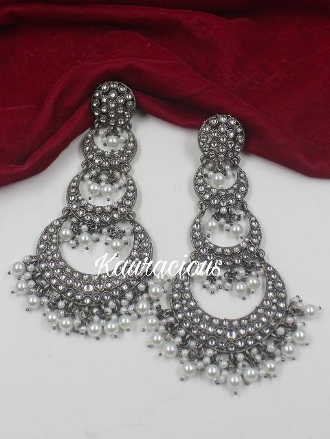Long Kundan Layered Black Metal Earrings | kauracious.com