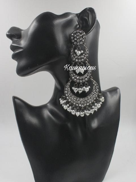 Long Kundan Layered Black Metal Earrings   Kauracious.com