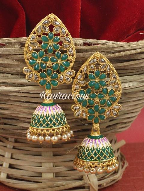 Traditional Meenakari Jhumka Earrings | Kauracious.com