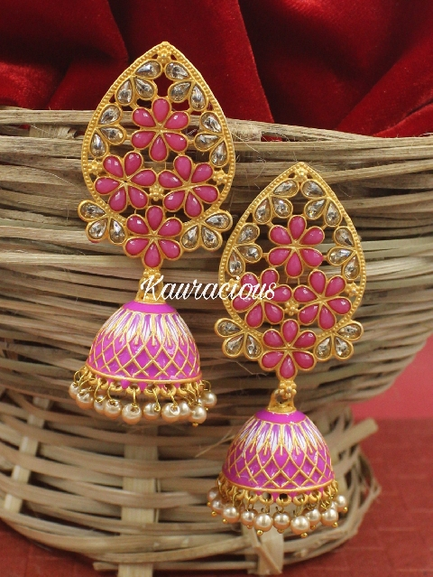Traditional Meenakari Jhumka Earrings   Kauracious.com