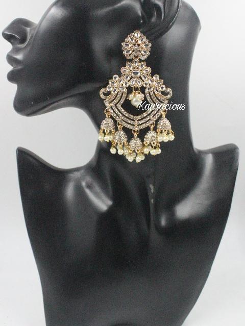 Rose Gold Based Traditional Five Jhumki Earrings   Kauracious.com