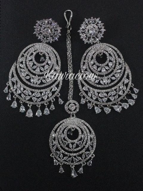 AMerican Diamond Chandbali and Maang Tikka Set | kauracious.com