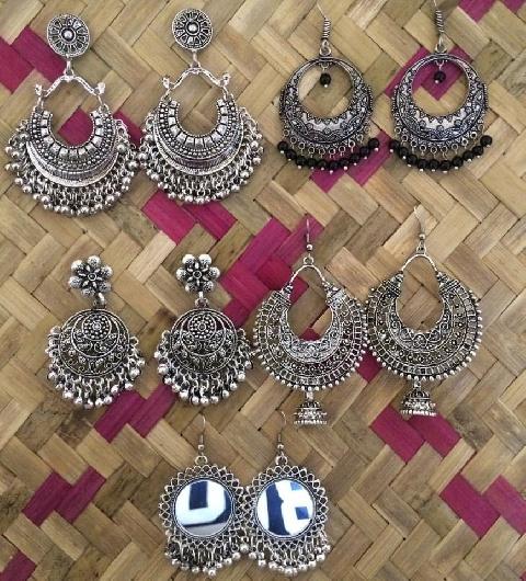 Pack of 5 Oxidised Earrings   Kauracious.com