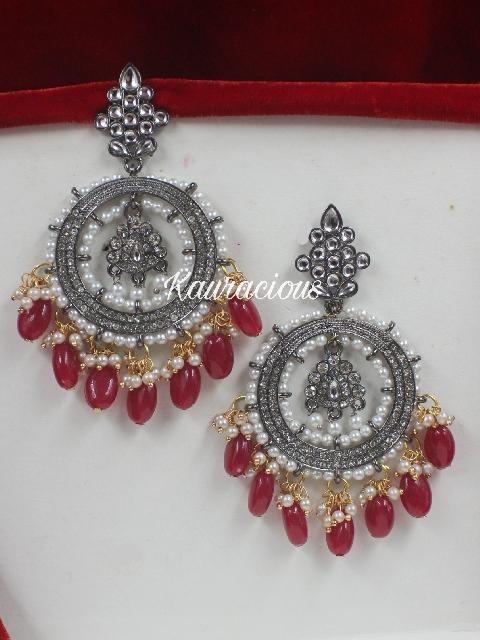 Black Metal Faux Zircoin Medium Sized Chandbali Earrings | Kauracious.com