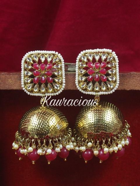 Square Shaped Jhumka Earrings   Kauracious.com