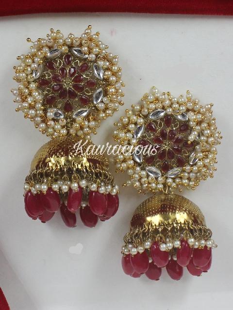 Pearl Beaded Oversized Jhumka Earrings   Kauracious.com