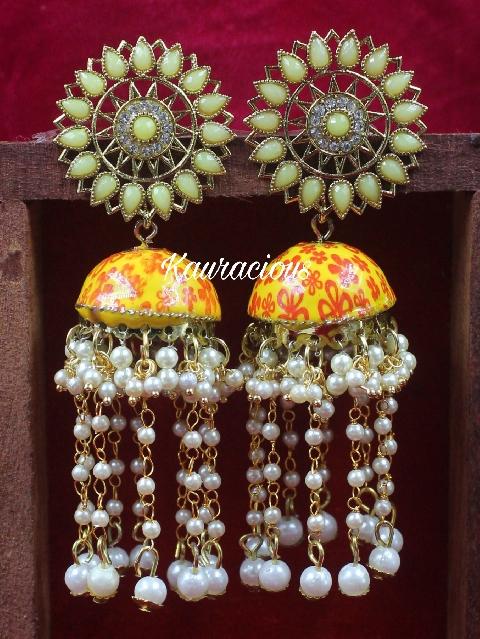 Pearl Layered Meenakari Jhumki Earrings | Kauracious.com