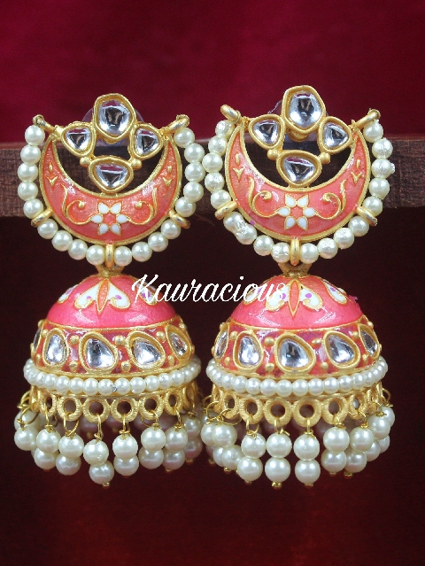 Medium Sized Meenakari Jhumki Earrings | Kauracious.com