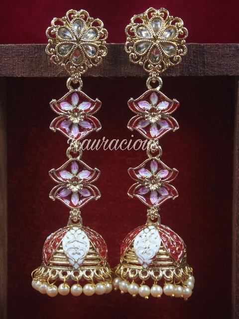 Traditional Sleek Meenakari Earrings   Kauracious.com